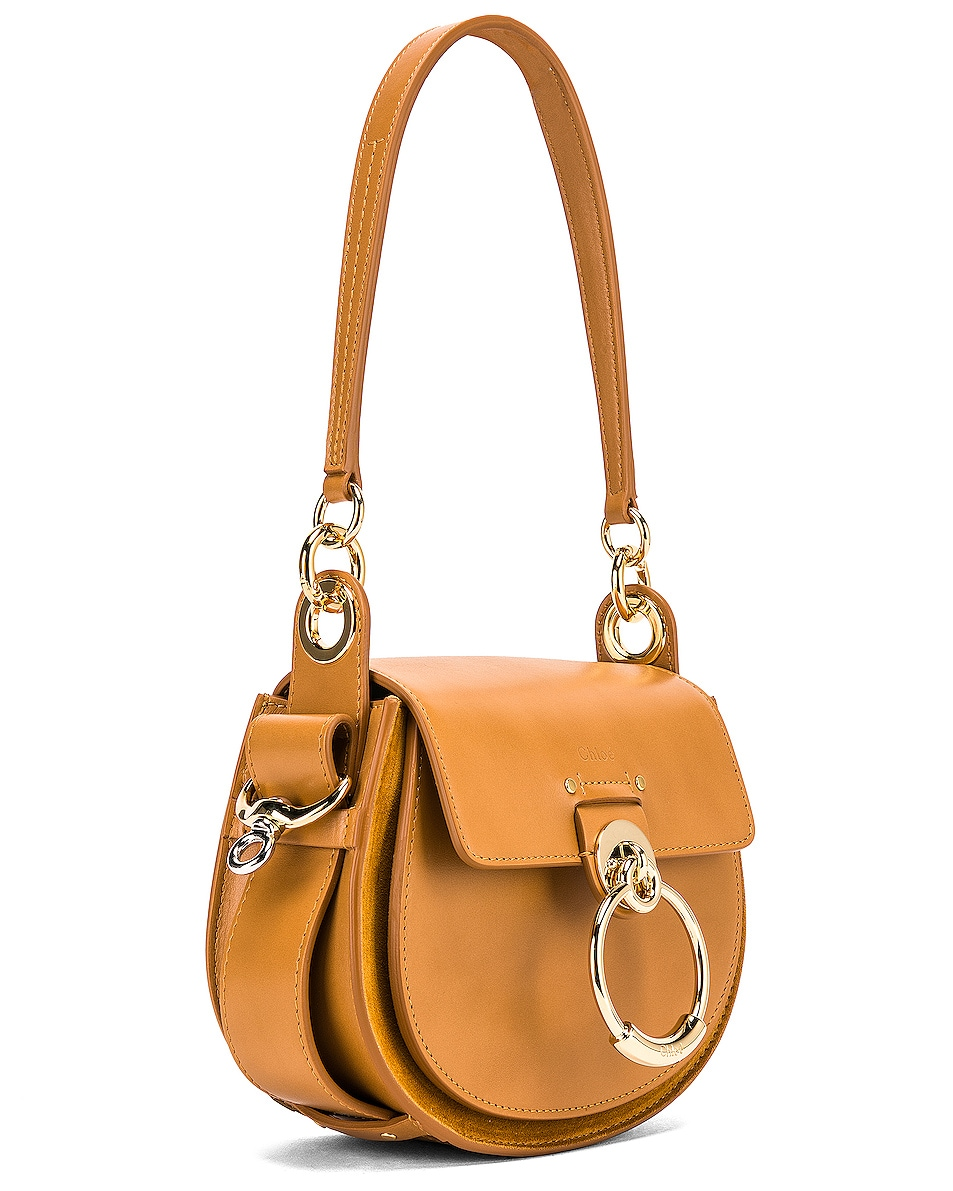 Image 4 of Chloe Small Tess Shiny Calfskin Shoulder Bag in Autumnal Brown