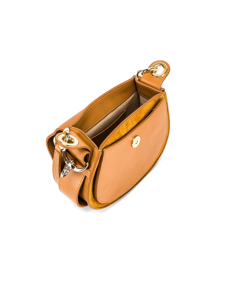 Image 5 of Chloe Small Tess Shiny Calfskin Shoulder Bag in Autumnal Brown