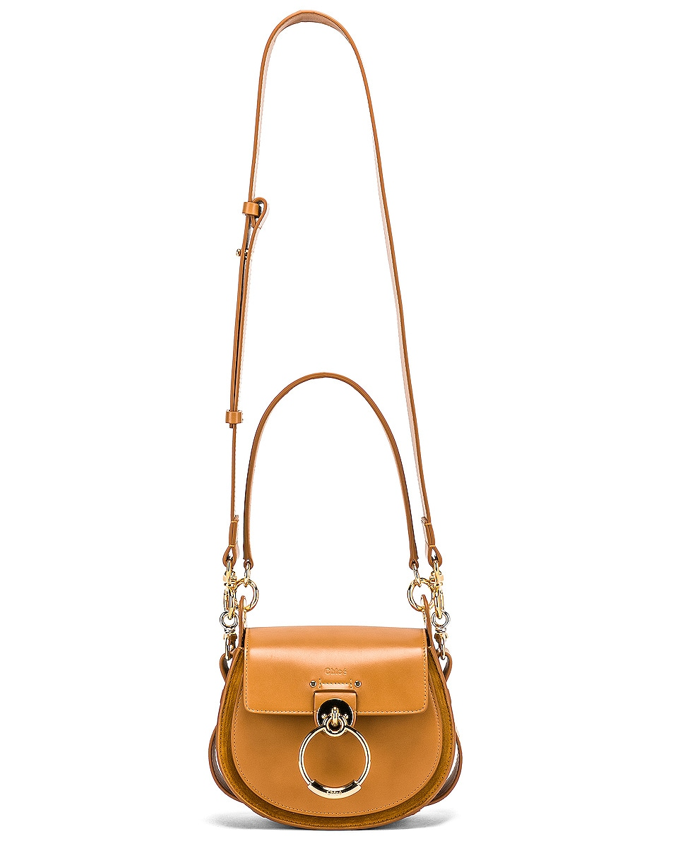 Image 6 of Chloe Small Tess Shiny Calfskin Shoulder Bag in Autumnal Brown