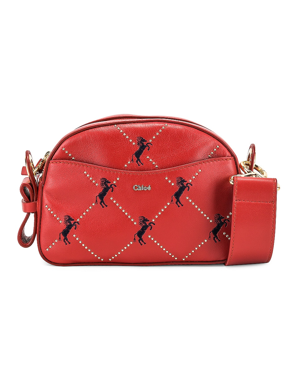 Image 1 of Chloe Mini Signature Embroidered Leather Bag in Earthy Red