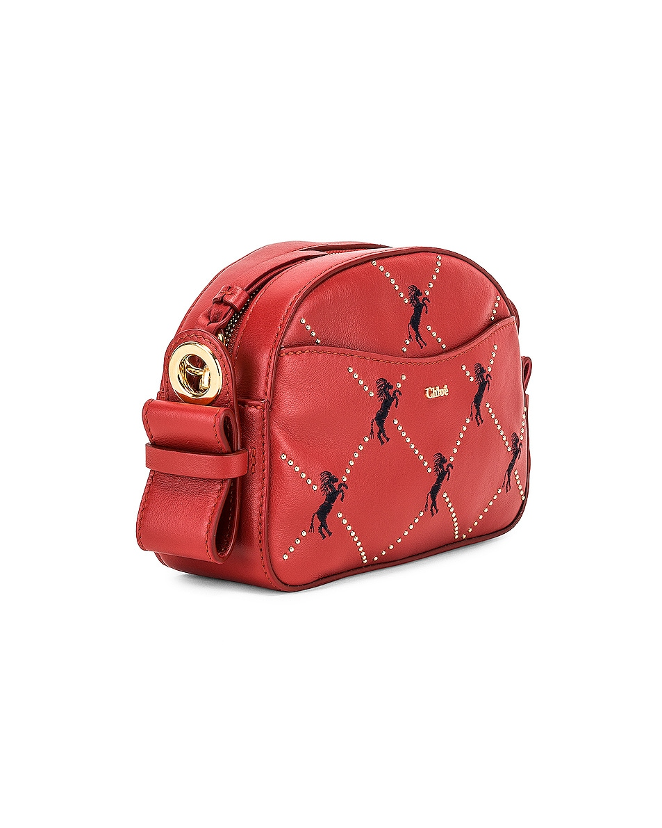 Image 4 of Chloe Mini Signature Embroidered Leather Bag in Earthy Red