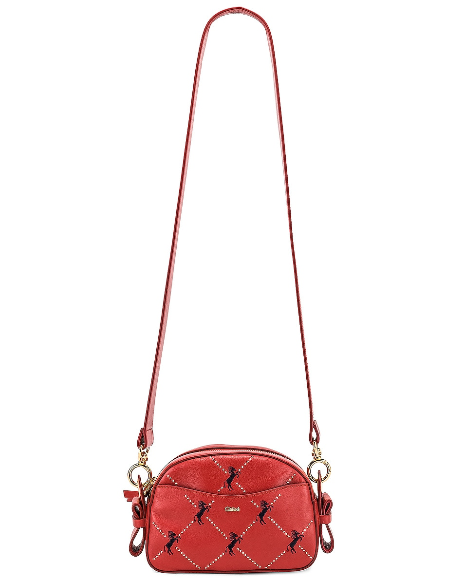 Image 6 of Chloe Mini Signature Embroidered Leather Bag in Earthy Red