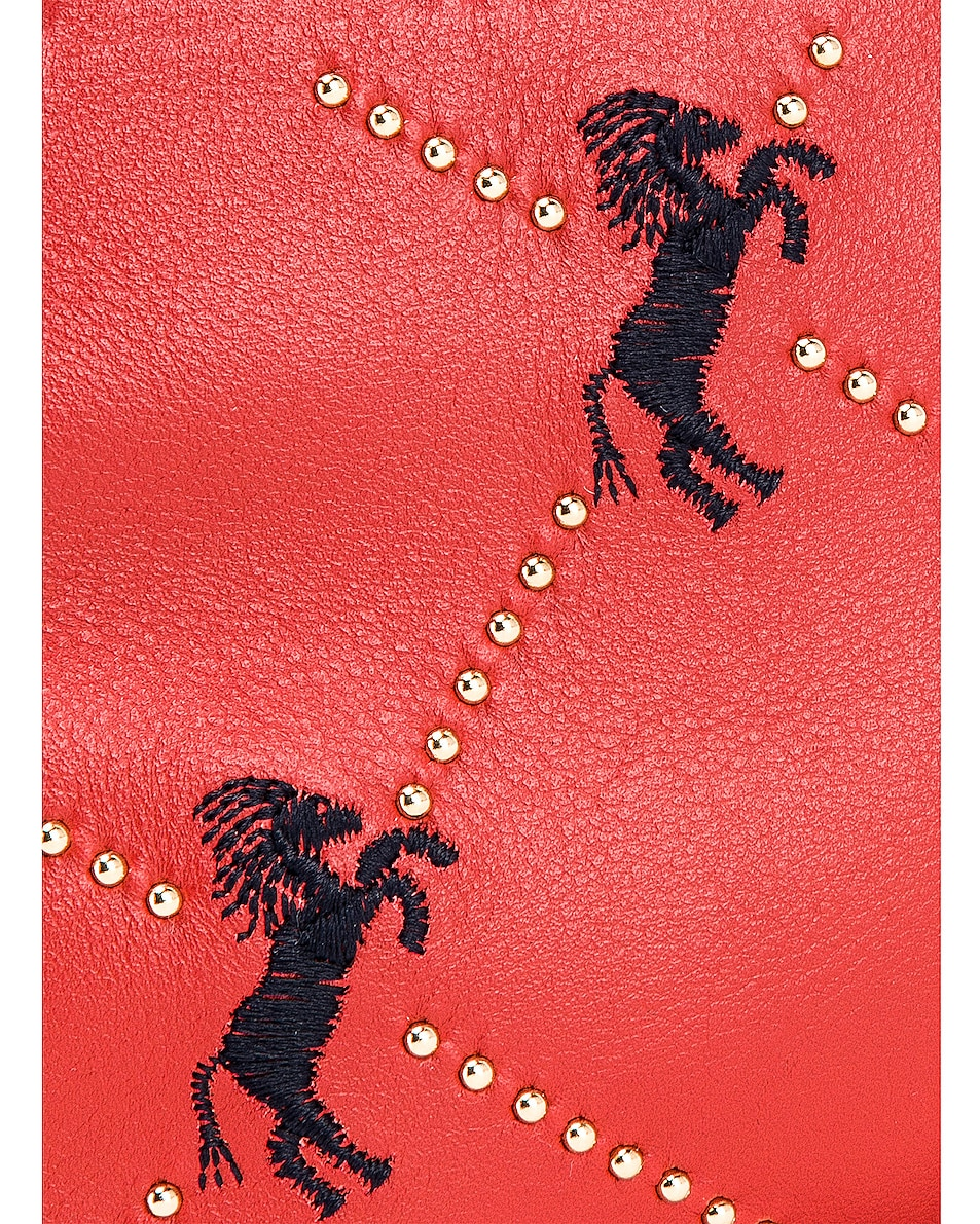 Image 8 of Chloe Mini Signature Embroidered Leather Bag in Earthy Red