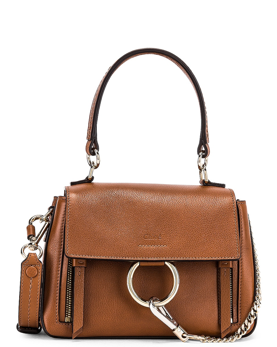 Image 1 of Chloe Mini Faye Calfskin & Suede Day Bag in Tan