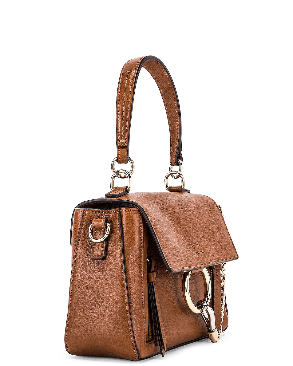 Image 4 of Chloe Mini Faye Calfskin & Suede Day Bag in Tan