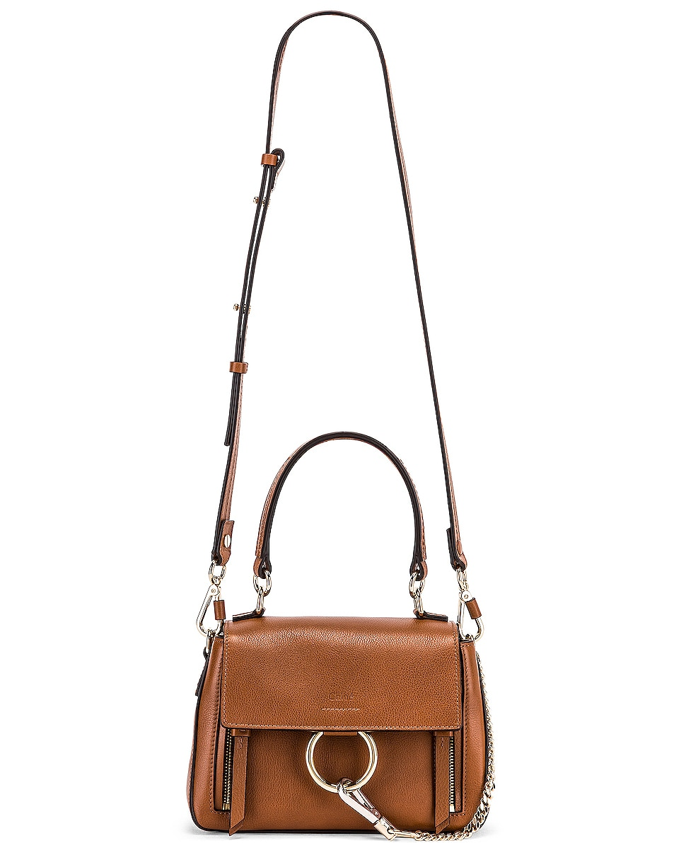 Image 6 of Chloe Mini Faye Calfskin & Suede Day Bag in Tan