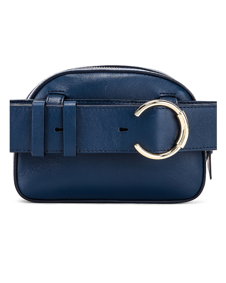 Image 3 of Chloe Signature Embroidered Leather Belt Bag in Eclipse Blue