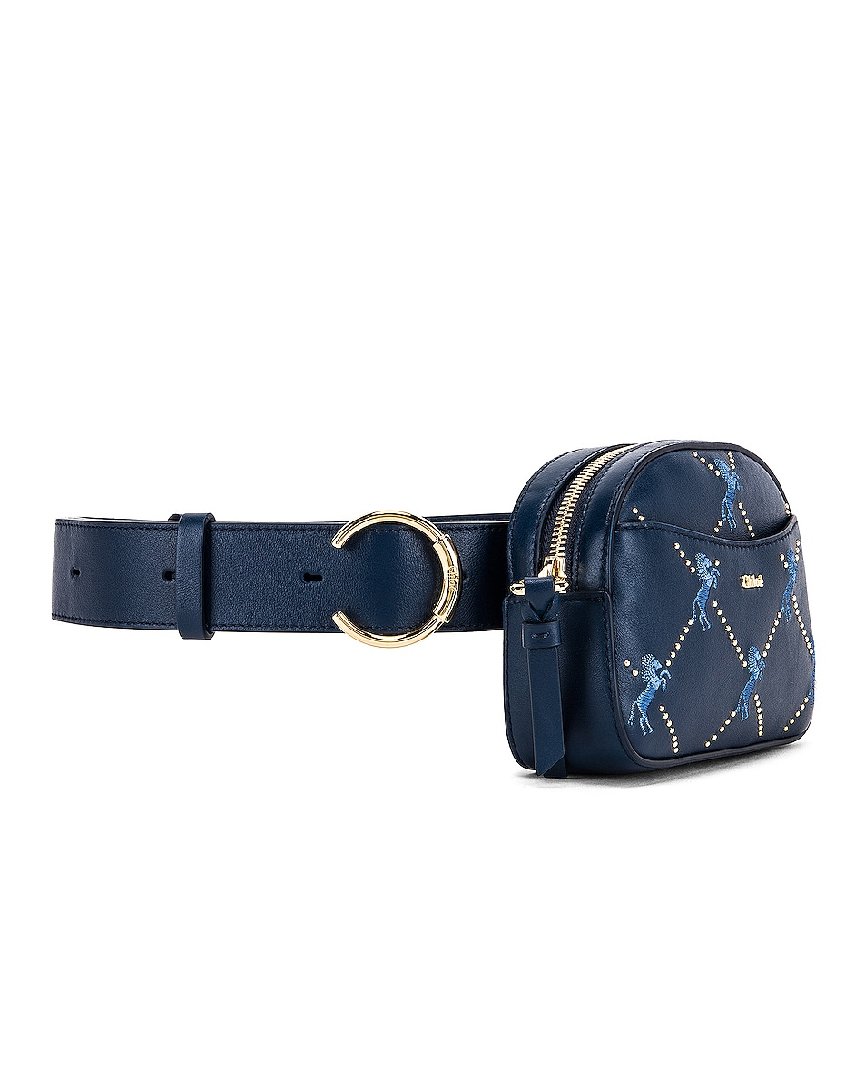 Image 4 of Chloe Signature Embroidered Leather Belt Bag in Eclipse Blue