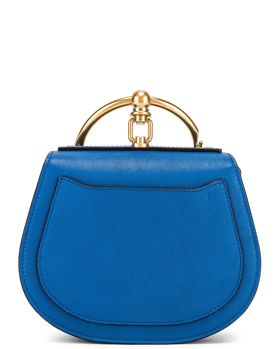 Image 3 of Chloe Small Nile Calfskin & Suede Bracelet Bag in Smoky Blue