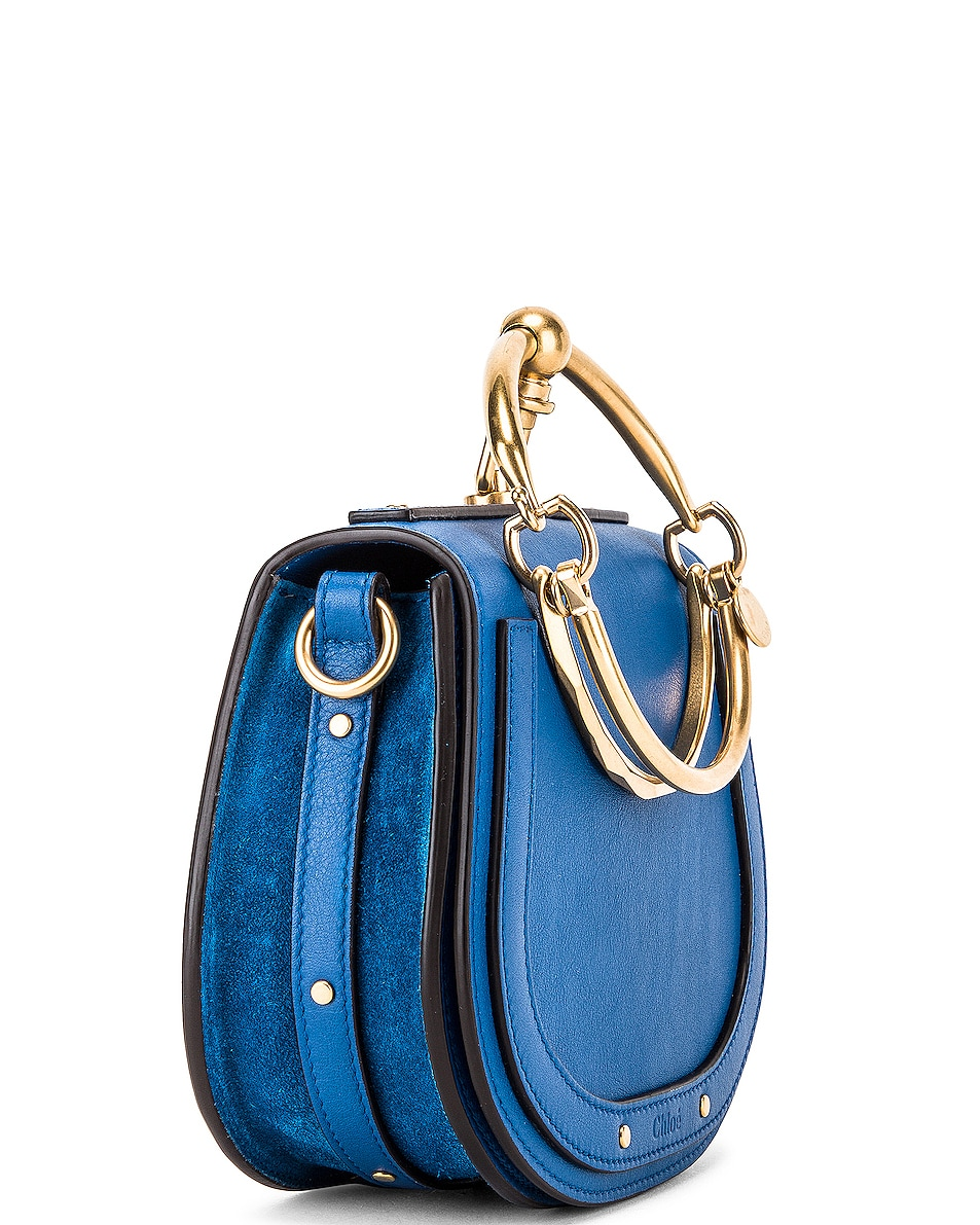 Image 4 of Chloe Small Nile Calfskin & Suede Bracelet Bag in Smoky Blue