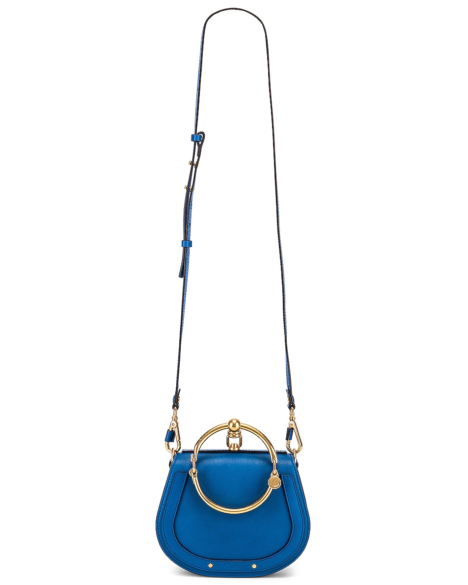 Image 6 of Chloe Small Nile Calfskin & Suede Bracelet Bag in Smoky Blue