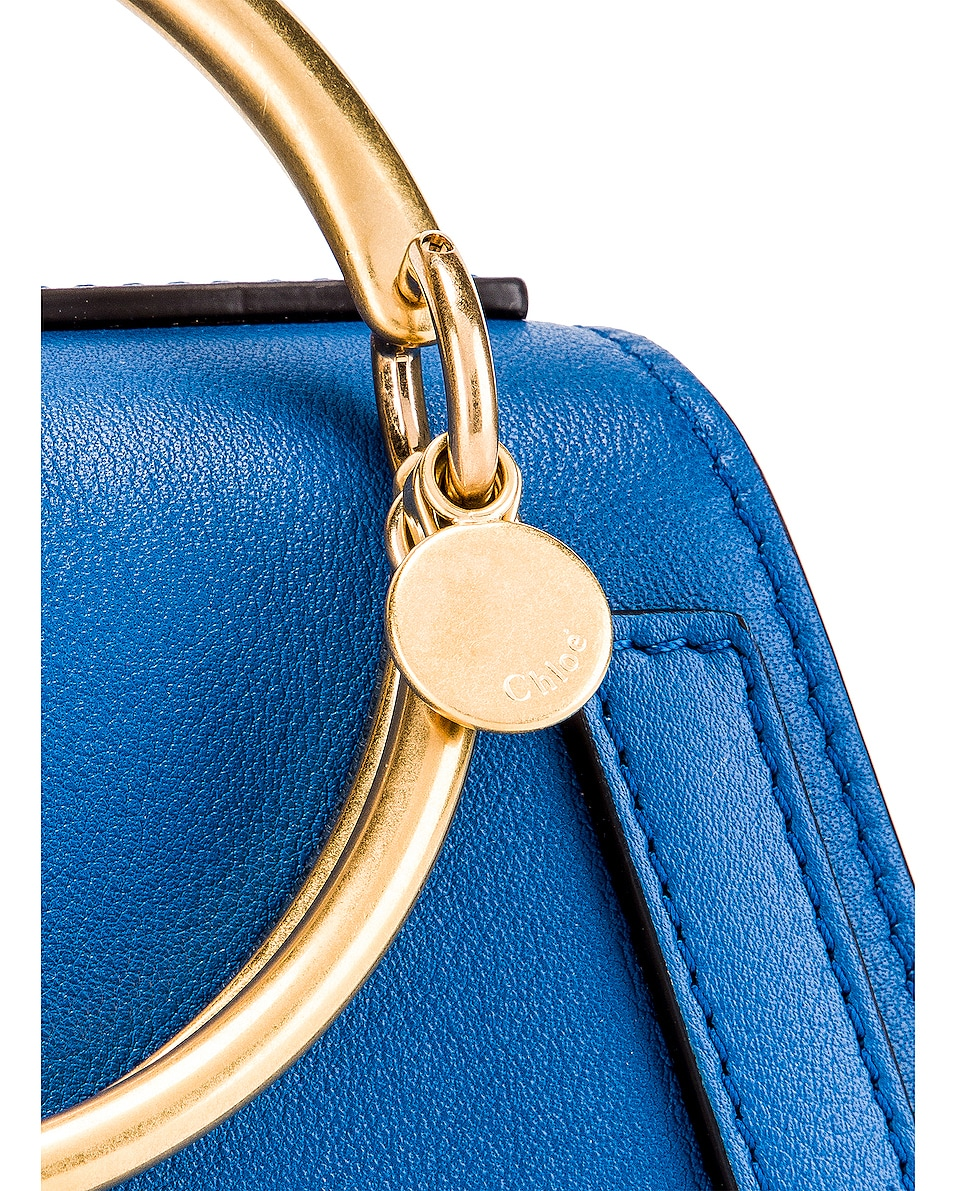 Image 8 of Chloe Small Nile Calfskin & Suede Bracelet Bag in Smoky Blue
