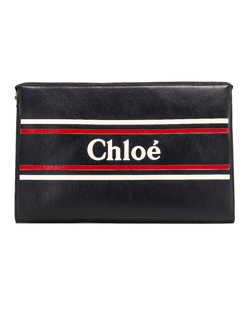 Image 1 of Chloe Logo & Stripe Pouch in Full Blue