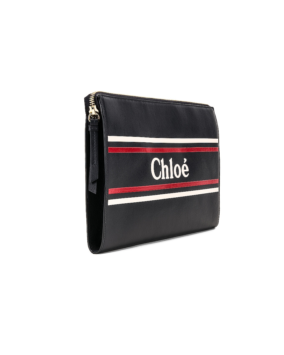 Image 4 of Chloe Logo & Stripe Pouch in Full Blue