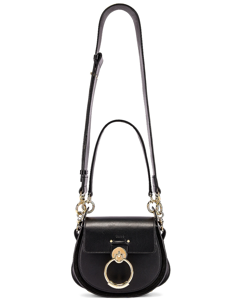 Image 3 of Chloe Small Tess Shiny Calfskin Shoulder Bag in Black