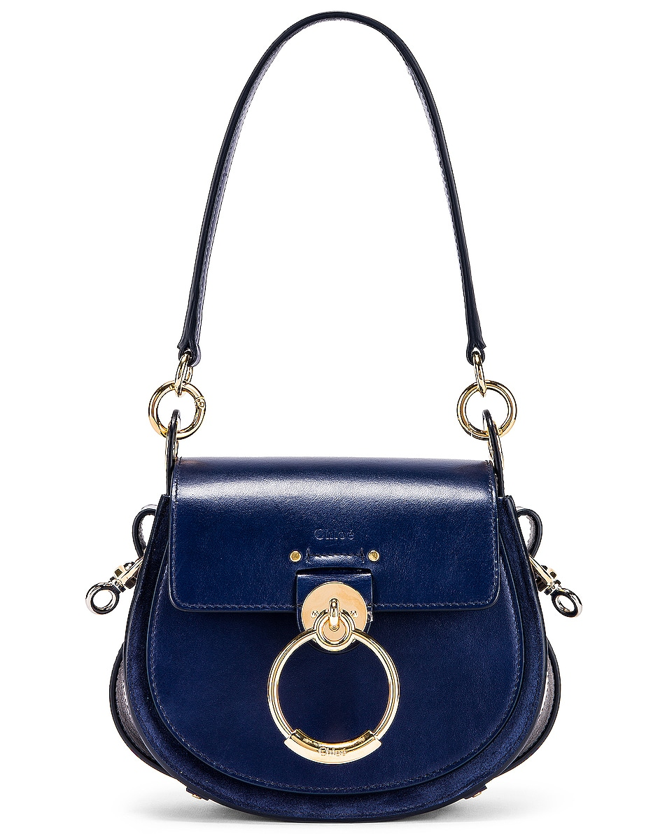 Image 1 of Chloe Small Tess Shiny Calfskin Shoulder Bag in Captive Blue