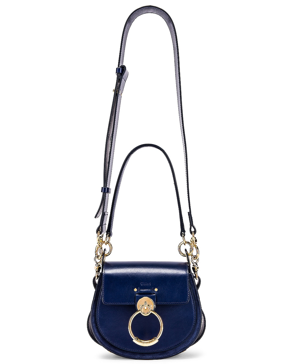 Image 2 of Chloe Small Tess Shiny Calfskin Shoulder Bag in Captive Blue
