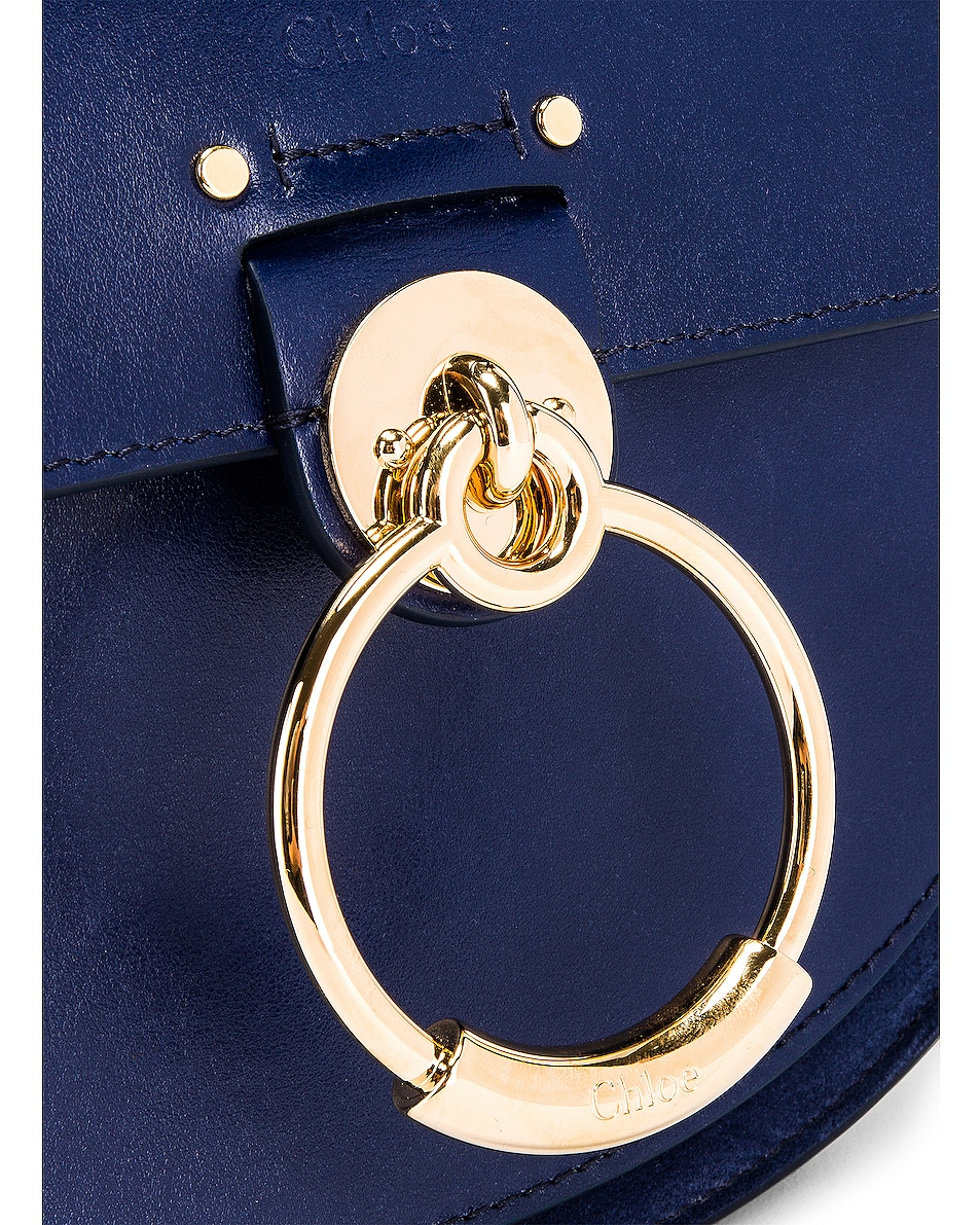 Image 3 of Chloe Small Tess Shiny Calfskin Shoulder Bag in Captive Blue
