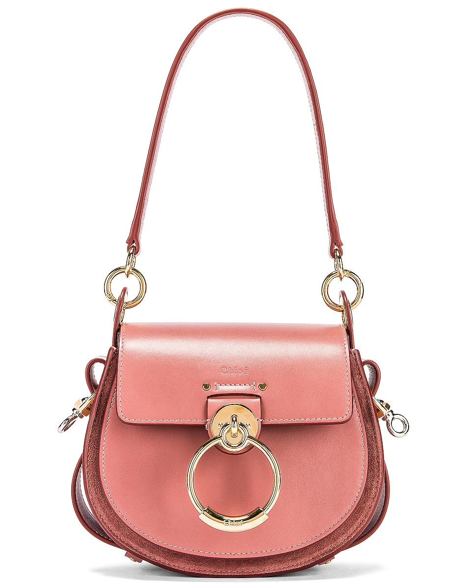 Image 1 of Chloe Small Tess Shiny Calfskin Shoulder Bag in Rusty Pink