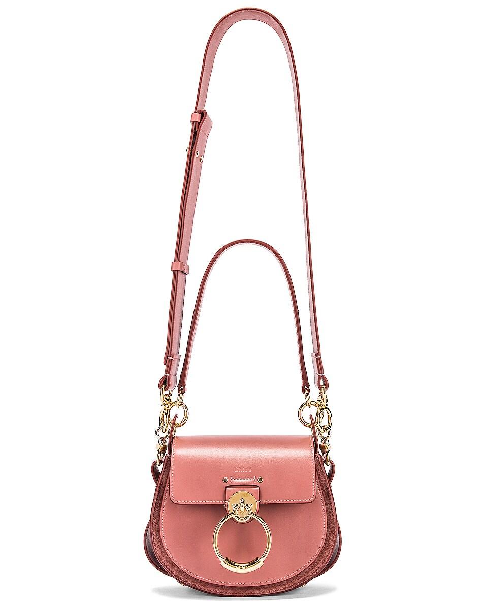 Image 3 of Chloe Small Tess Shiny Calfskin Shoulder Bag in Rusty Pink