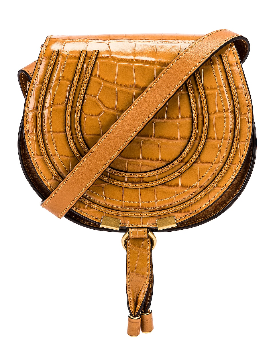Image 1 of Chloe Small Marcie Croc Embossed Saddle Bag in Autumnal Brown