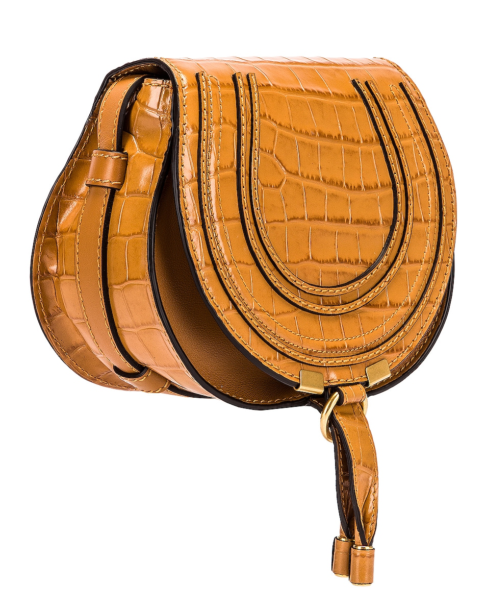 Image 3 of Chloe Small Marcie Croc Embossed Saddle Bag in Autumnal Brown