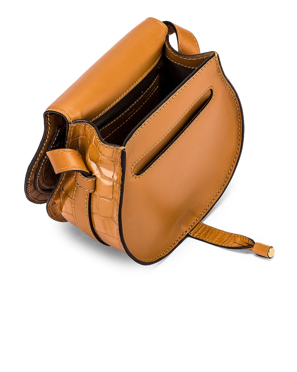 Image 4 of Chloe Small Marcie Croc Embossed Saddle Bag in Autumnal Brown