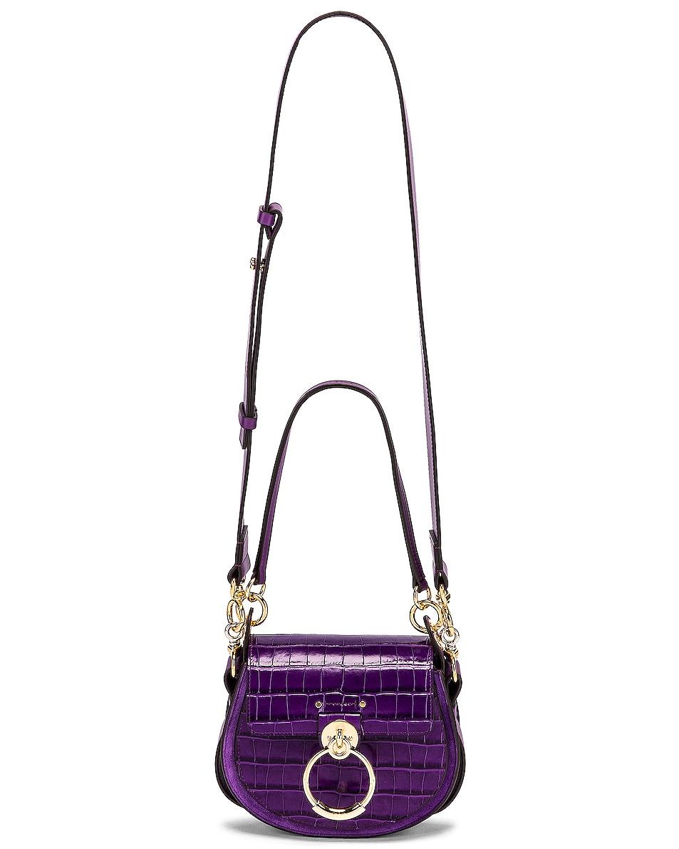 Image 6 of Chloe Small Tess Embossed Croco Shoulder Bag in Nightfall Purple