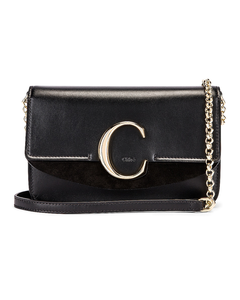 Image 1 of Chloe C Chain Clutch Bag in Black