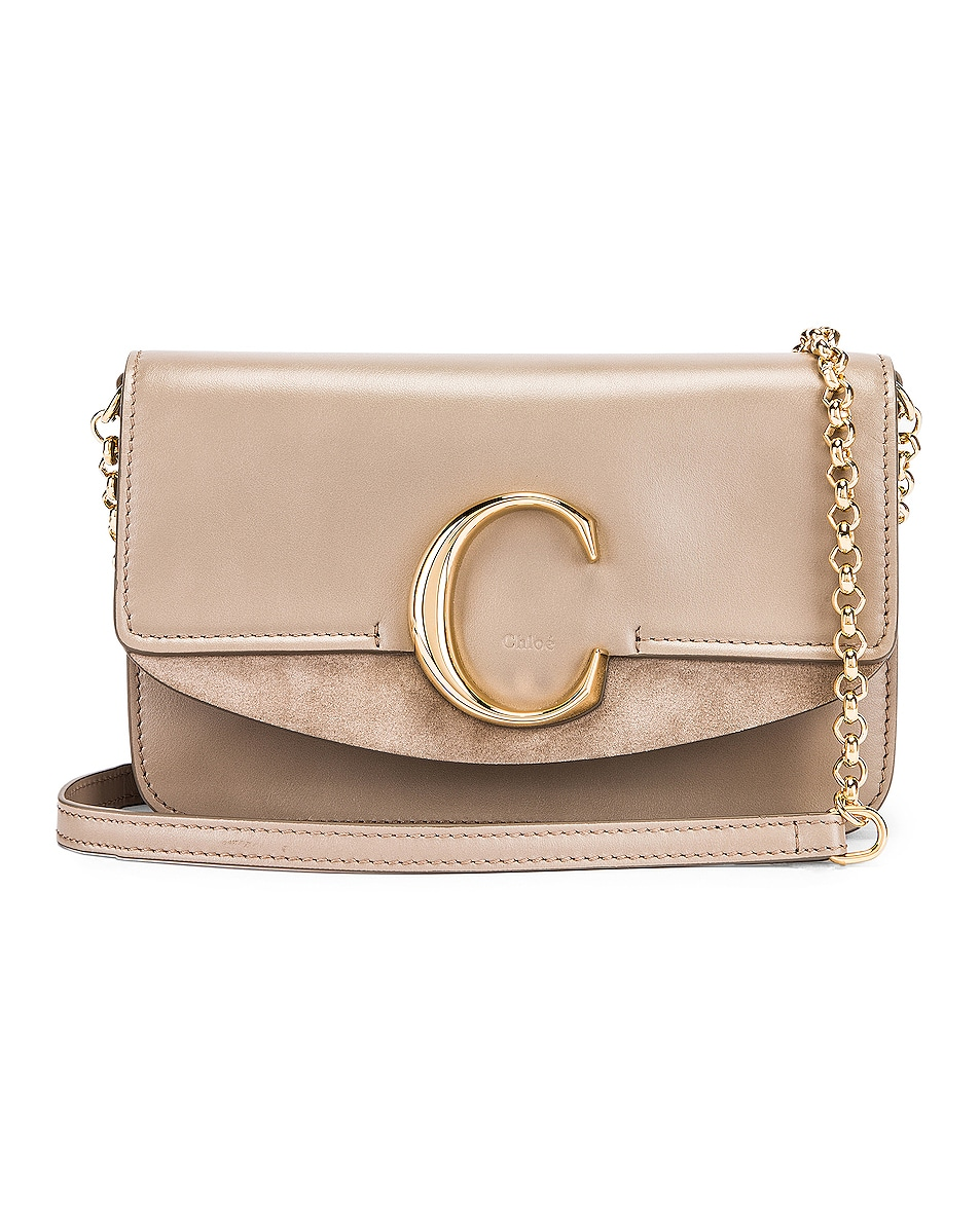 Image 1 of Chloe C Chain Clutch Bag in Motty Grey