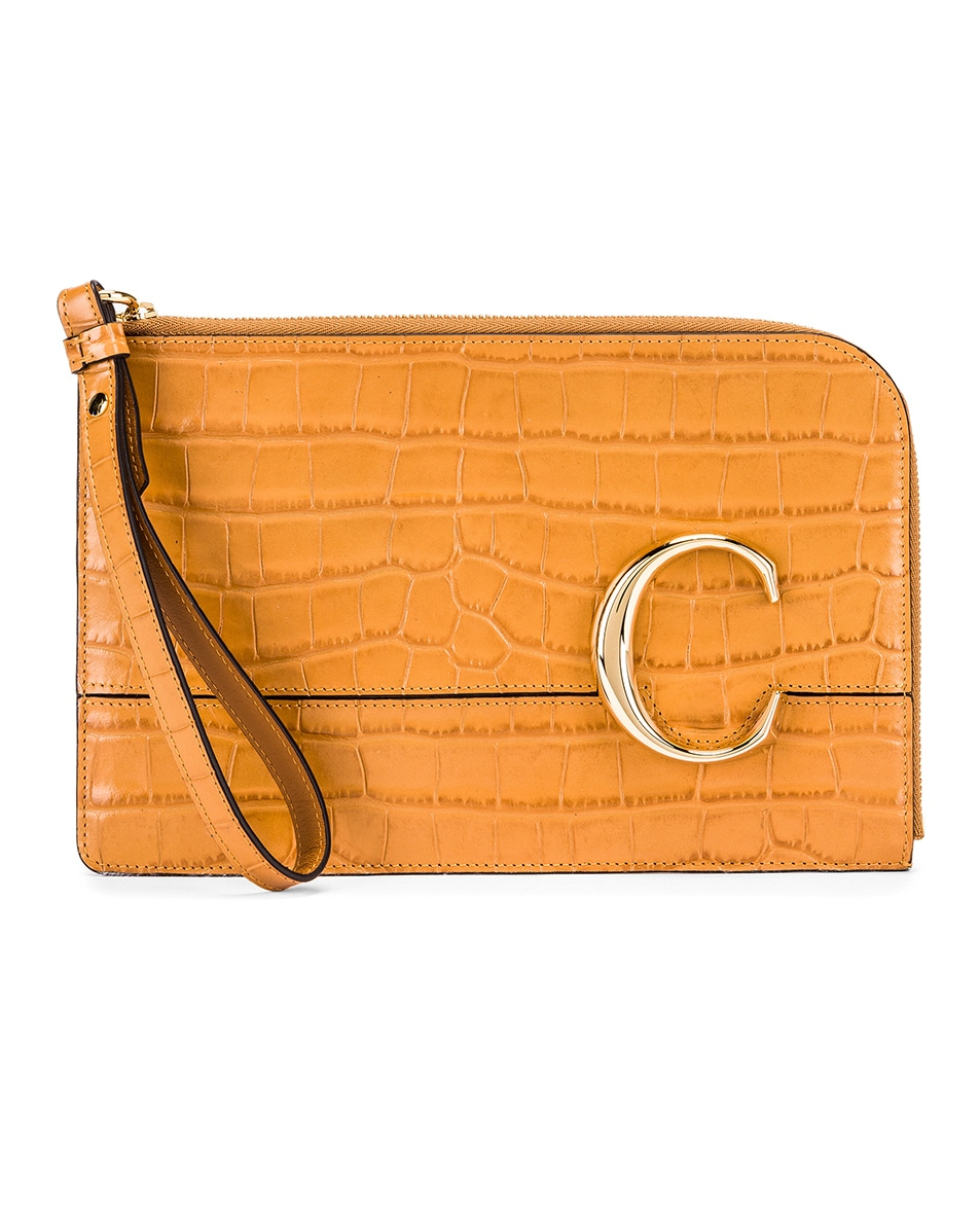 Image 1 of Chloe C Croc Embossed Pouch in Autumnal Brown