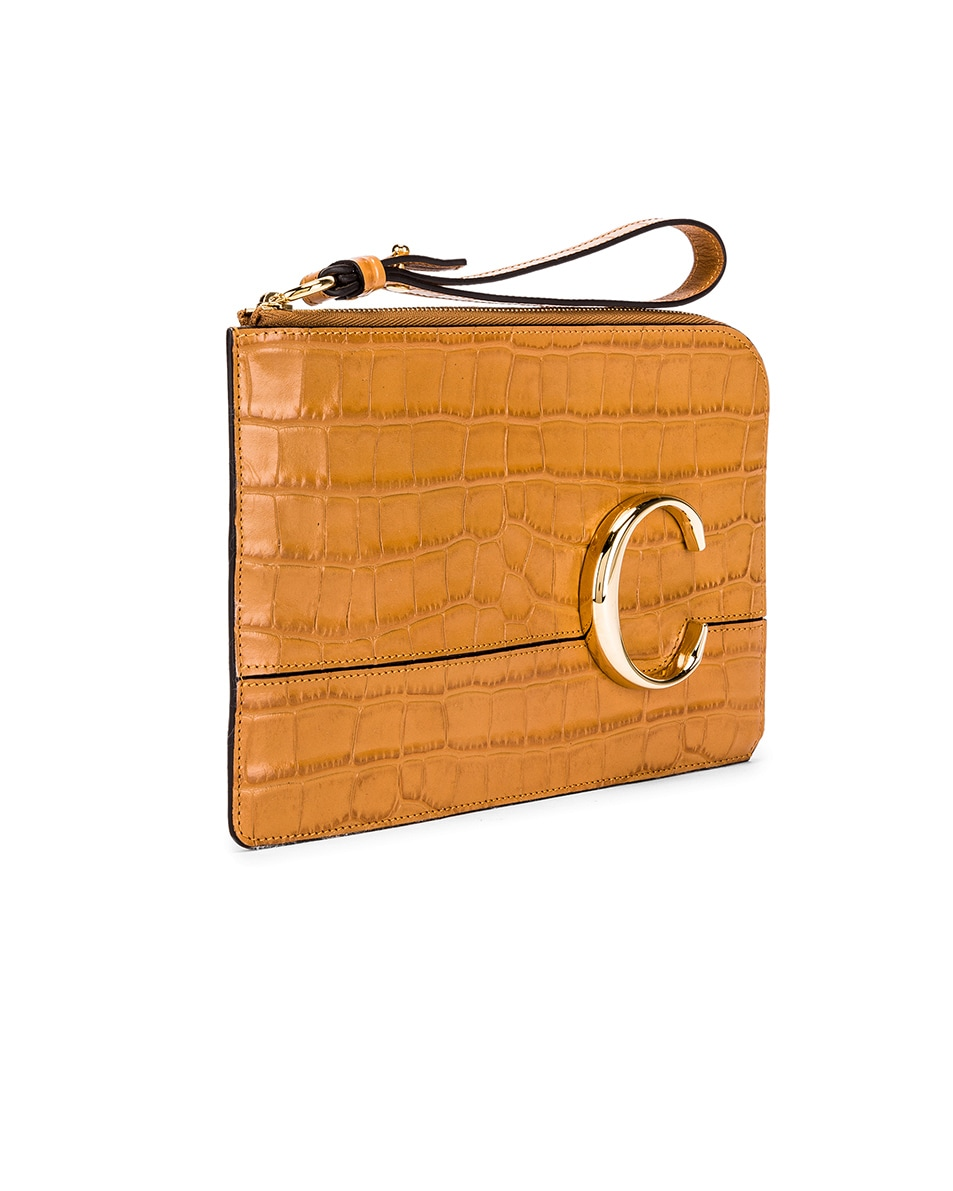 Image 4 of Chloe C Croc Embossed Pouch in Autumnal Brown