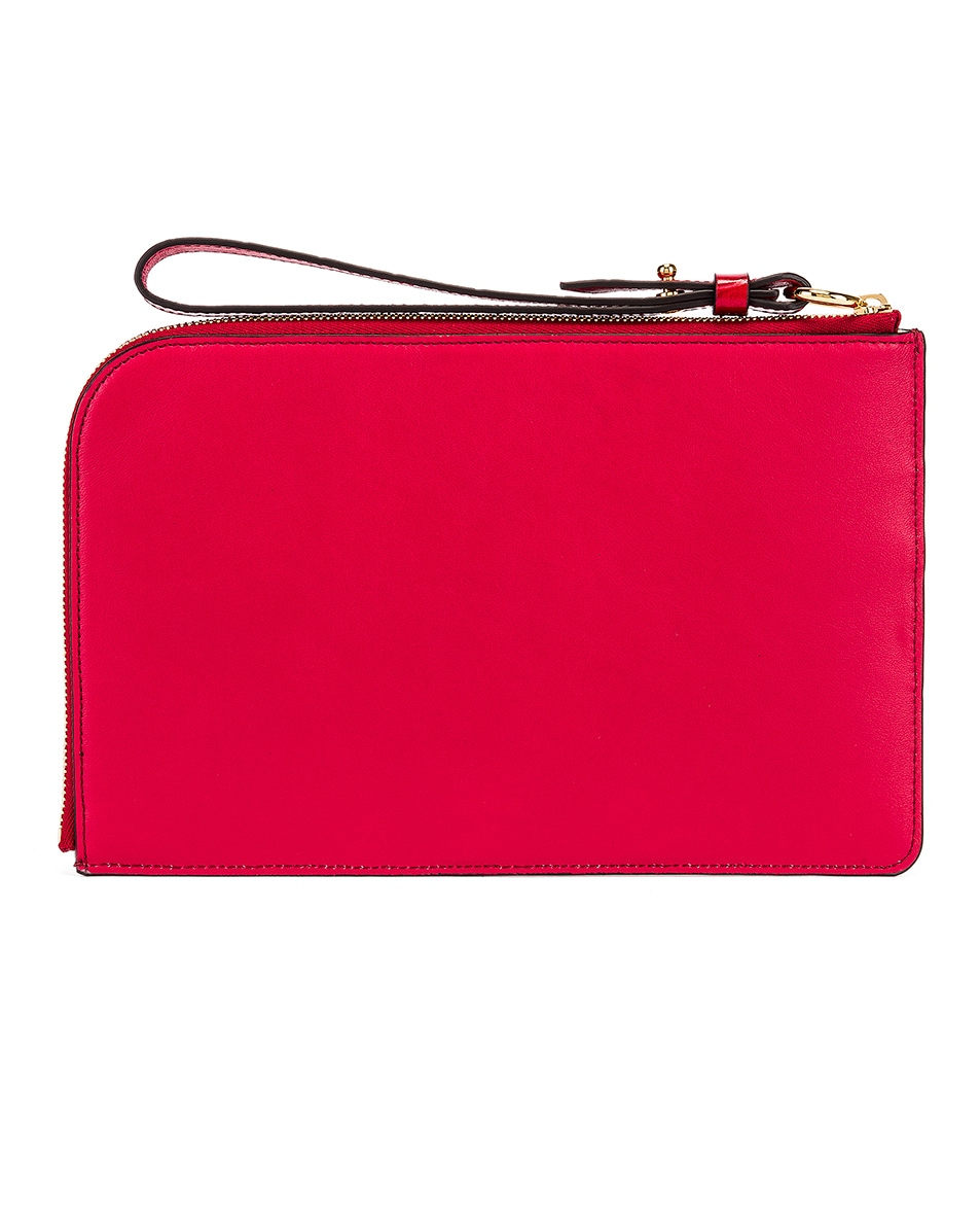 Image 2 of Chloe C Croc Embossed Pouch in Dusky Red