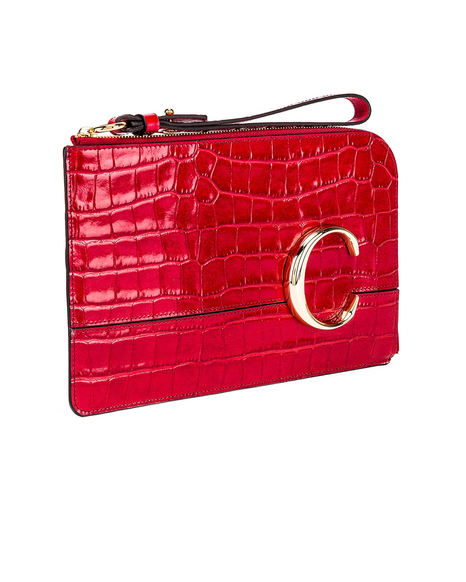 Image 3 of Chloe C Croc Embossed Pouch in Dusky Red