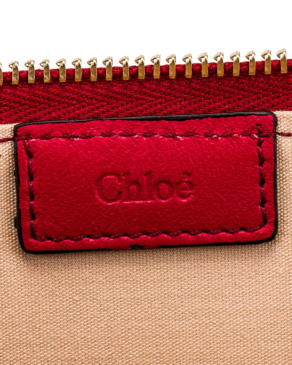 Image 5 of Chloe C Croc Embossed Pouch in Dusky Red