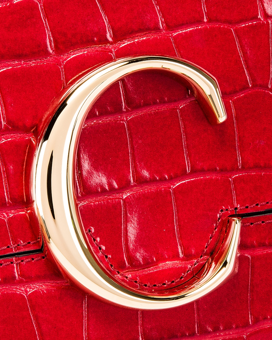 Image 6 of Chloe C Croc Embossed Pouch in Dusky Red