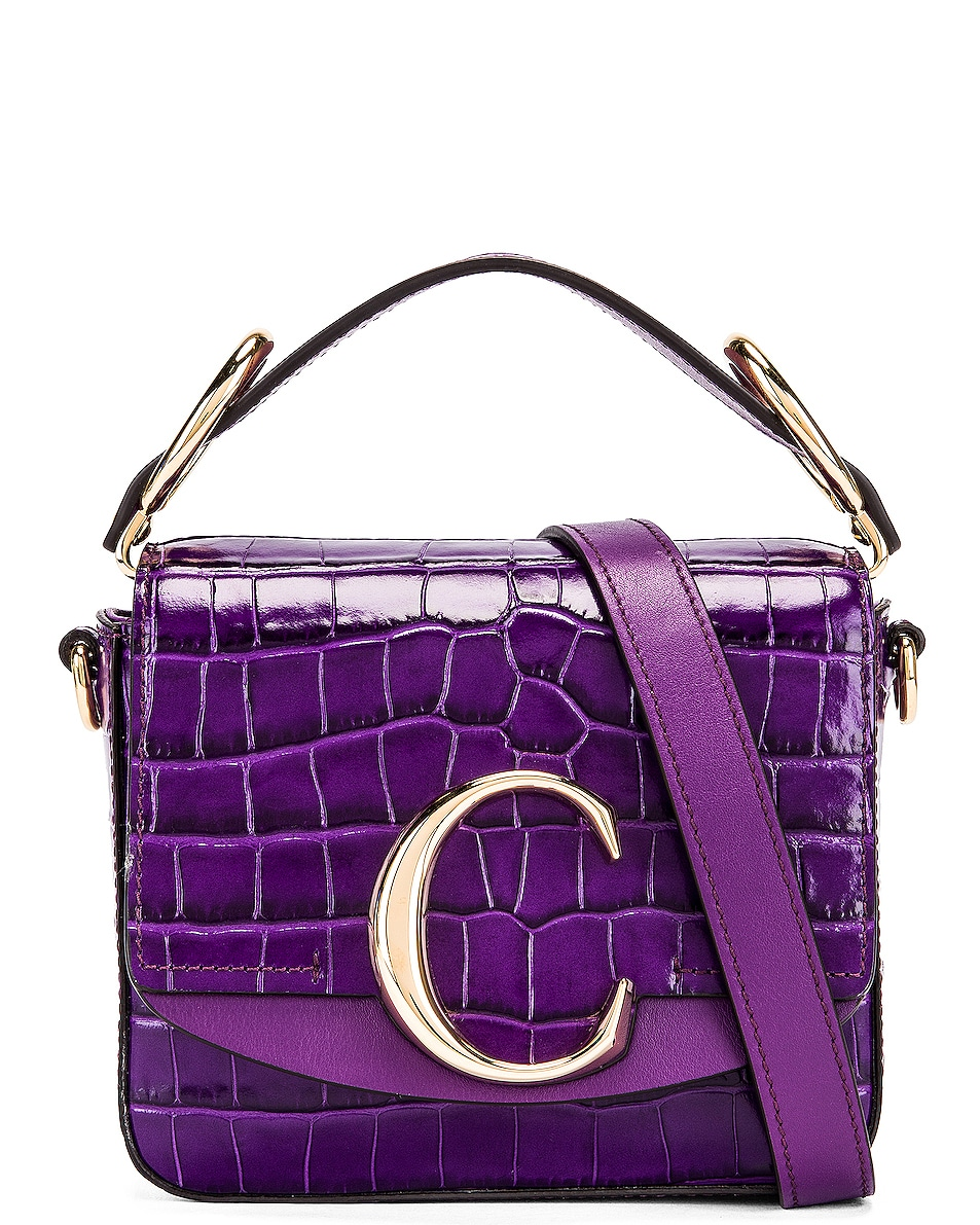 Image 1 of Chloe Mini C Embossed Croc Box Bag in Nightfall Purple