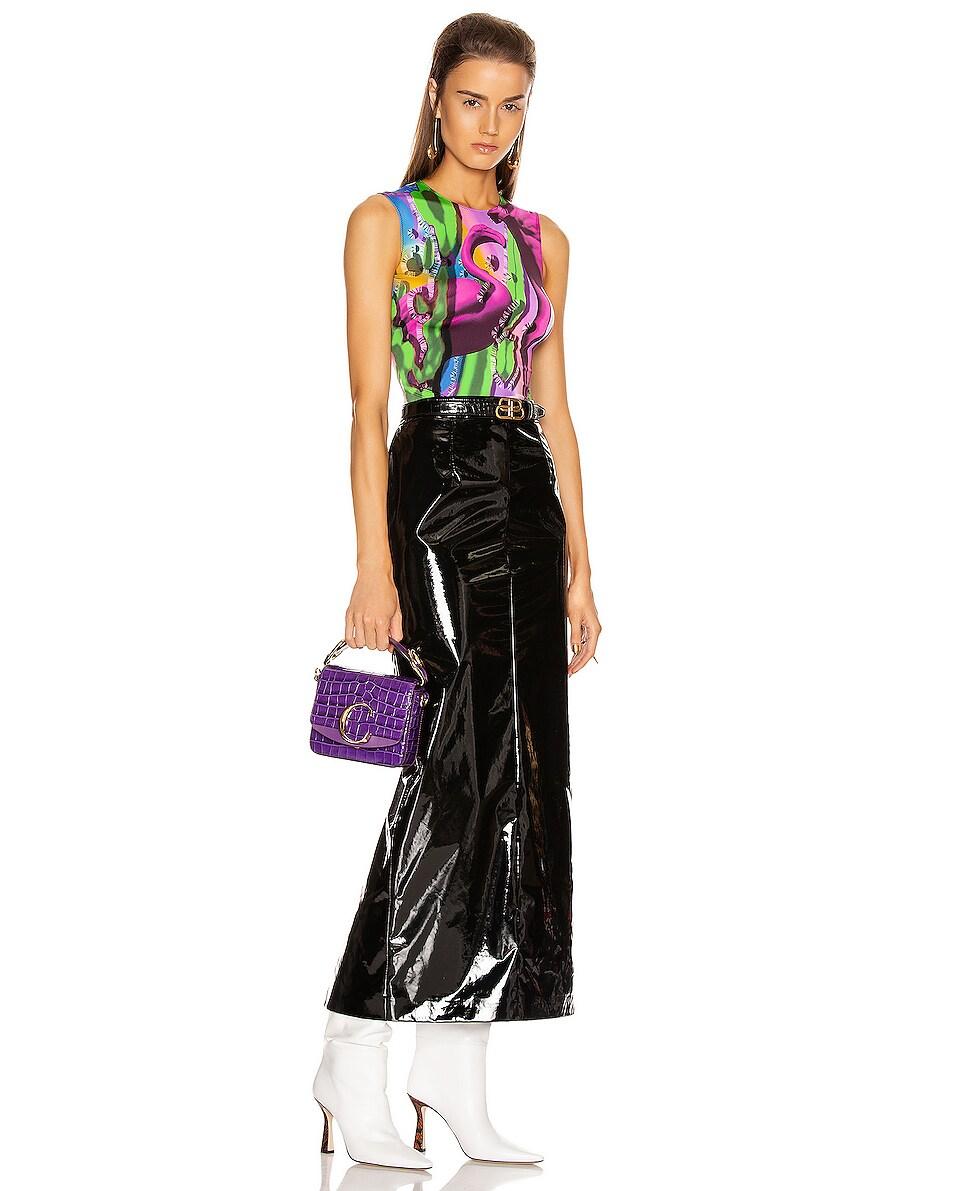 Image 2 of Chloe Mini C Embossed Croc Box Bag in Nightfall Purple