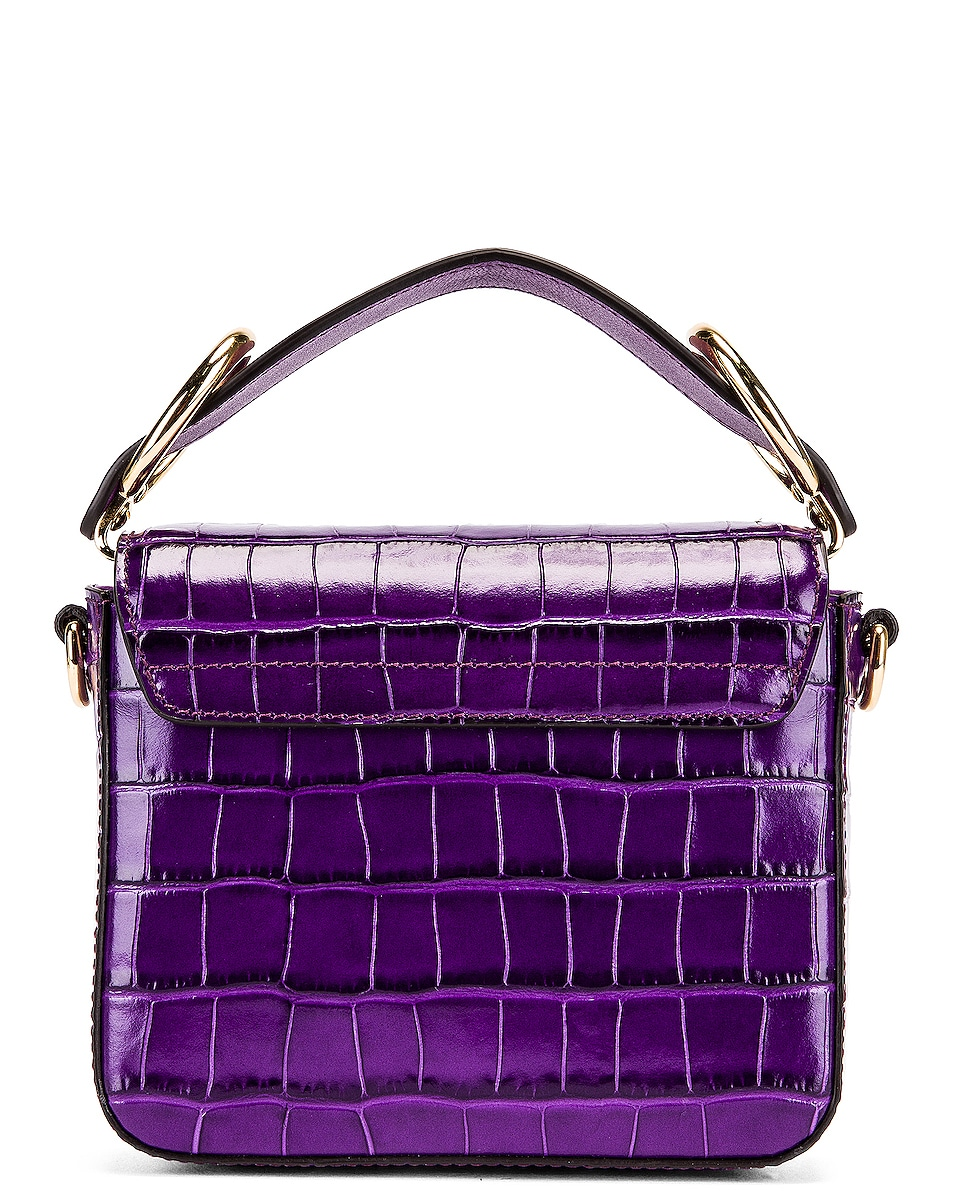 Image 3 of Chloe Mini C Embossed Croc Box Bag in Nightfall Purple
