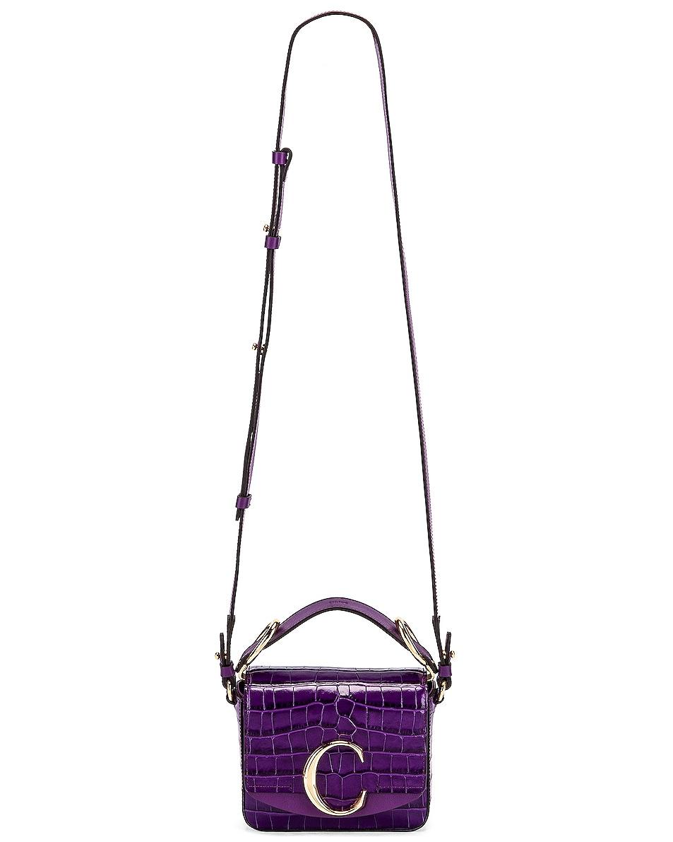 Image 6 of Chloe Mini C Embossed Croc Box Bag in Nightfall Purple