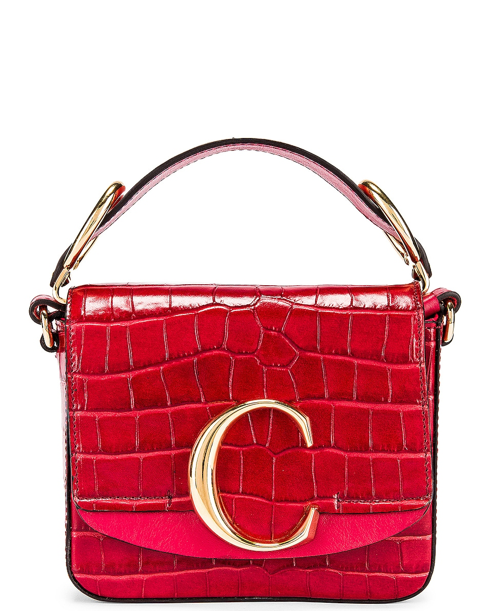 Image 1 of Chloe Mini C Embossed Croc Box Bag in Dusky Red