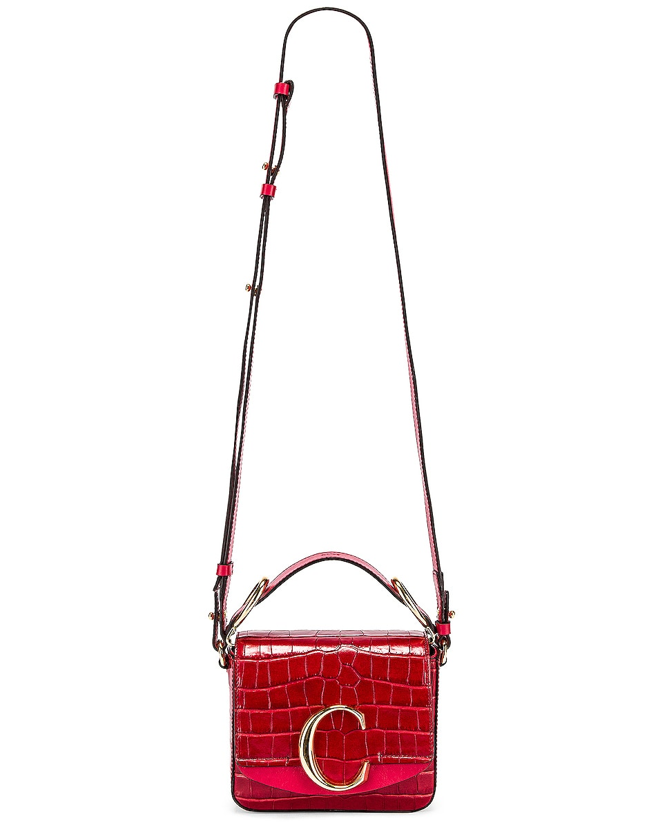 Image 2 of Chloe Mini C Embossed Croc Box Bag in Dusky Red