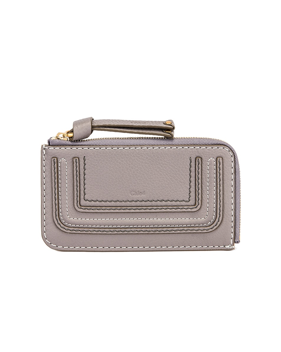 Image 1 of Chloe Medium Marcie Wallet with Slot Cards in Cashmere Grey