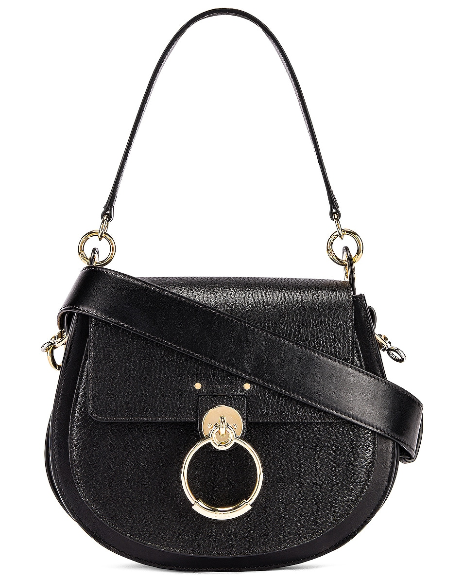 Image 1 of Chloe Large Tess Grained Leather Bag in Black