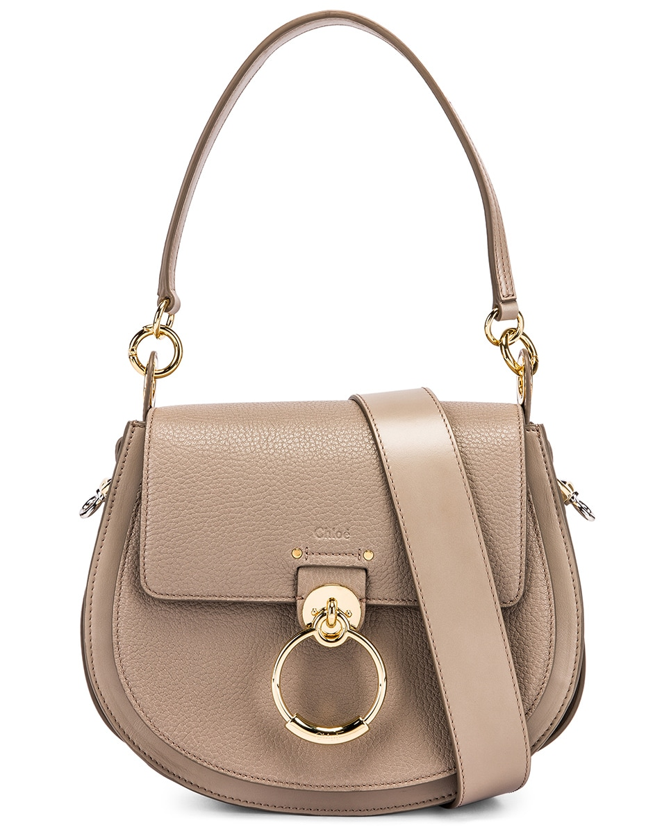 Image 1 of Chloe Large Tess Grained Leather Bag in Motty Grey