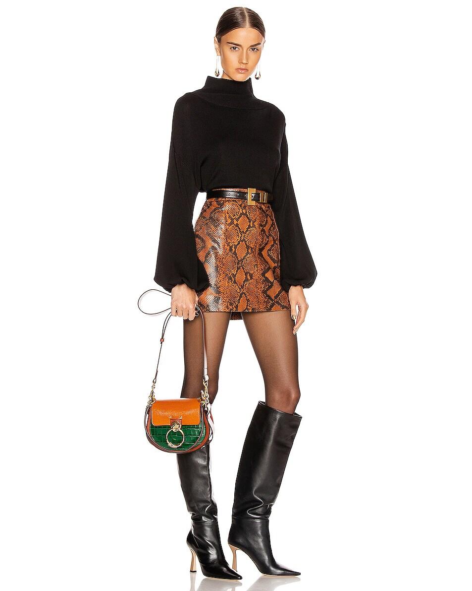 Image 2 of Chloe Small Tess Embossed Croc & Lizard Bag in Brown & Green