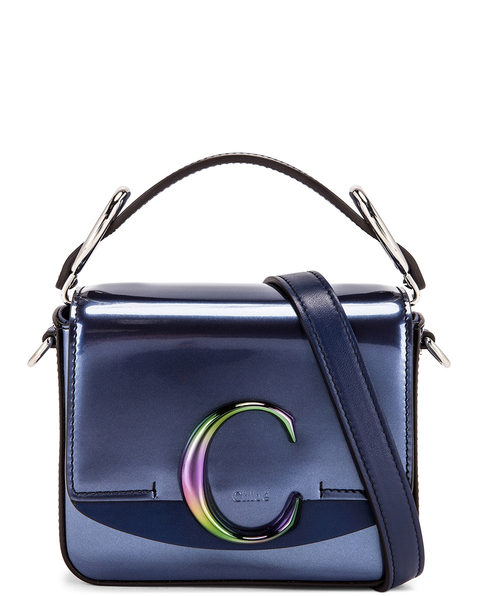 Image 1 of Chloe Mini C Iridescent Box Bag in Captive Blue