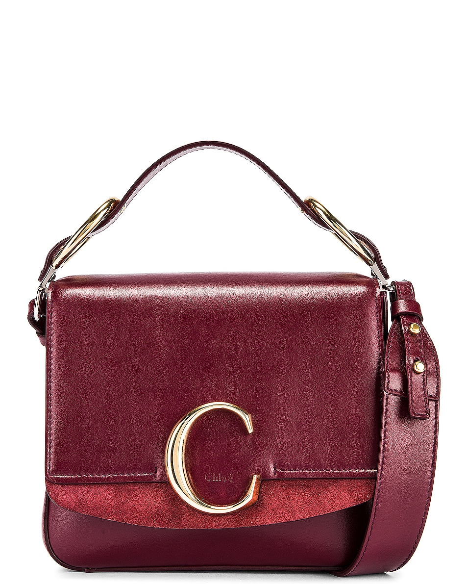 Image 1 of Chloe Small C Box Bag in Burnt Mahogany