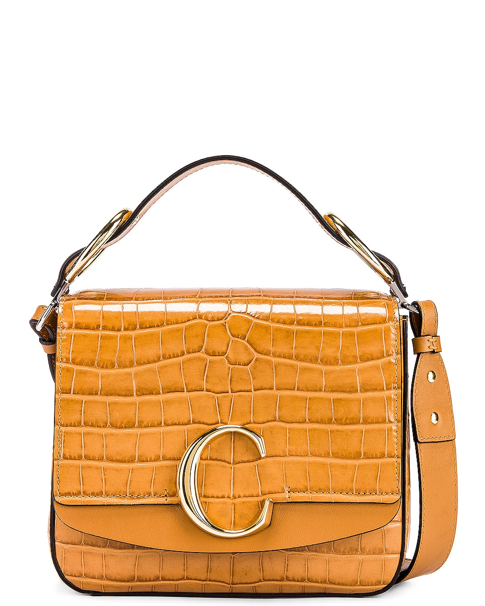 Image 1 of Chloe Small C Embossed Croc Box Bag in Autumnal Brown