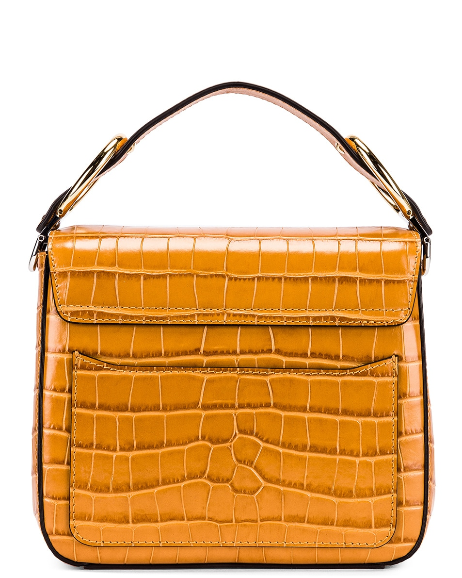 Image 3 of Chloe Small C Embossed Croc Box Bag in Autumnal Brown